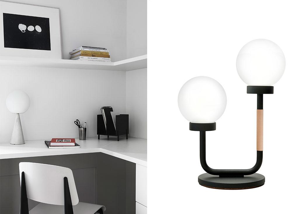 scrivania mensola bianco e lampada tavolo