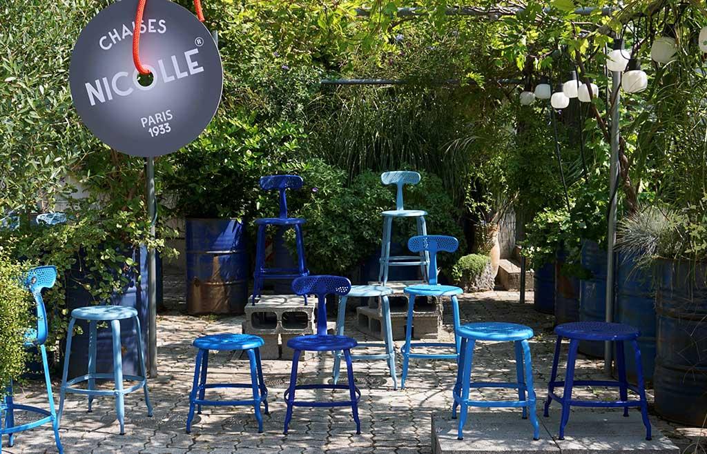 sedie sgabelli blu