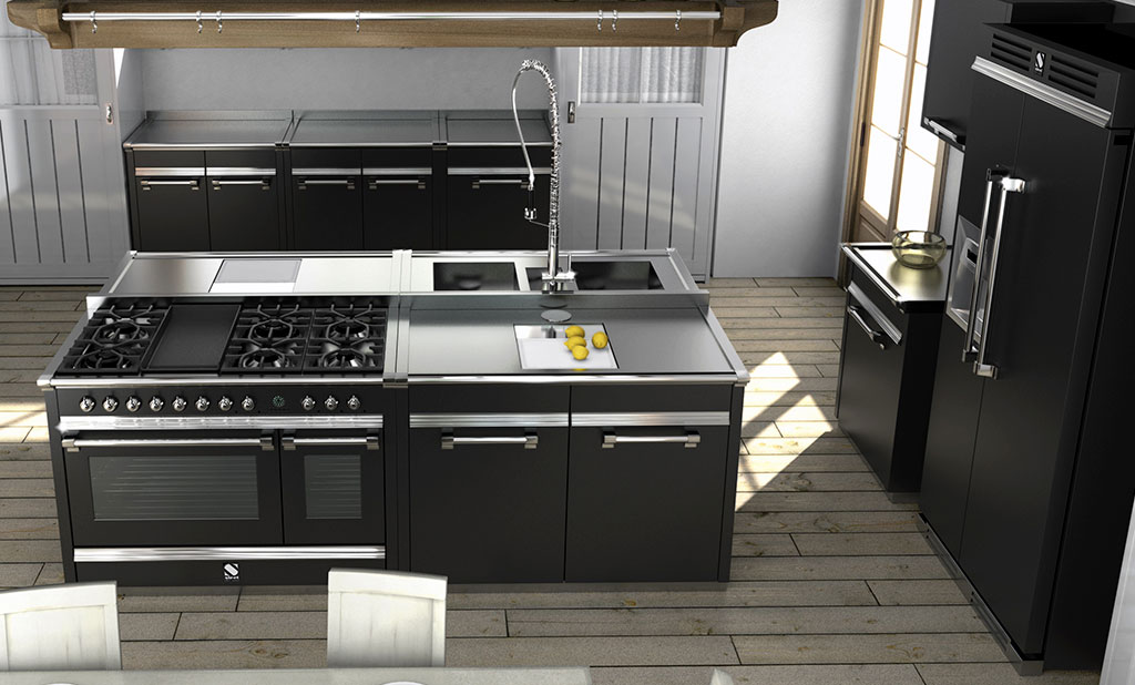 cucina libera installazione nera