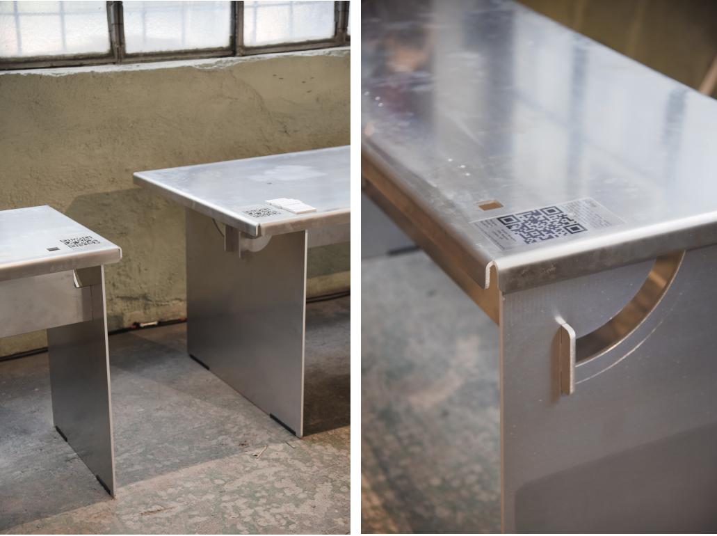 dettagli tavolo pieghevole in alluminio