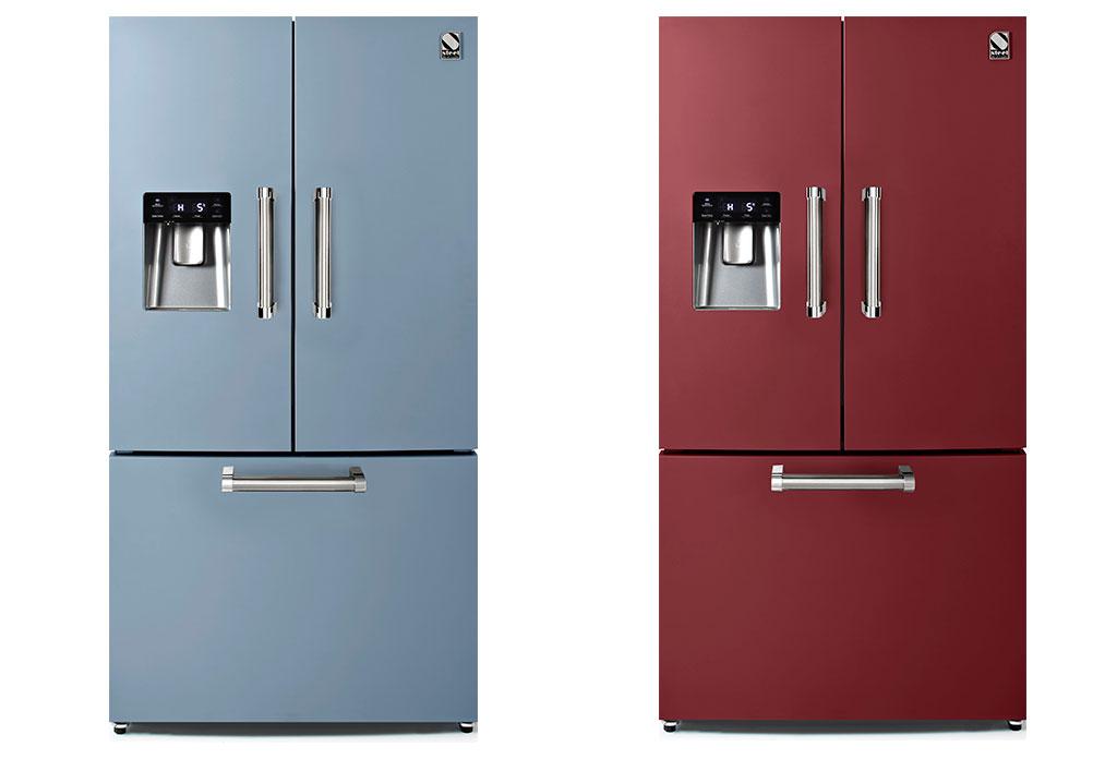 frigo doppia porta celeste e bordeaux