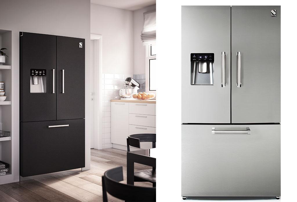 frigorifero doppia porta acciaio e nero